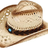 Simplicity Men / Women's Summer Woven Straw Cowboy Hat, 290_Brown
