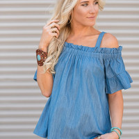 Ruched Off-The-Shoulder Denim Top