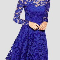 Blue Patchwork Lace Round Neck Long Sleeve Prom Evening Party Midi Dress