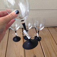 Chalk paint Wine Glasses - Chalkboard Paint, Stem Wine Glasses, Handmade Glasses