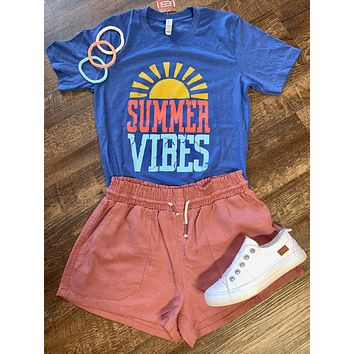 Summer Vibes Blue Graphic Tee (S-XL)