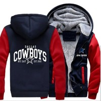 Dallas Cowboys Hoodie Zipper Fleece Jacket-Go Cowboys
