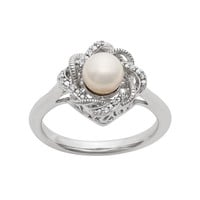 Simply Vera Vera Wang Freshwater Cultured Pearl & Diamond Accent Sterling Silver Twist Ring (White)