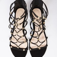 Elastic Gladiator Jeweled Sandals