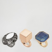 ASOS Pack of 3 Statement Chunky Stone Ring at asos.com