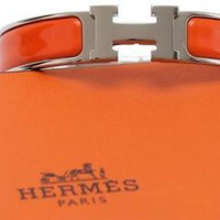 HERMES Bracelet Clic Clac H Narrow Orange Enamel Palladium Cuff PM