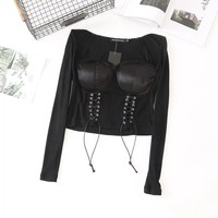 New lace square collar strap waist T-shirt umbilical slim sexy chest pad top