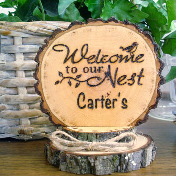 Rustic Welcome Sign / House Warming Gift / Cake Topper / Personalized Sign