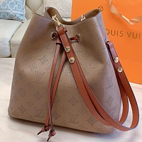 LV New fashion monogram pirnt leather shoulder bag handbag crossbody bag bucket bag Khaki