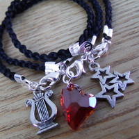 Alpha Chi Omega: Sorority Lyre/TripleStar/Heart-Set of Silk Cord Charm Bracelets