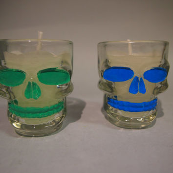 Hand painted shot glasses Skull mexican candles glow in the dark Vasos chupitos velas calavera brilla en la oscuridad