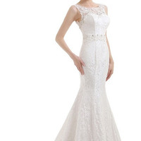 Lace Appliques Crystal Beaded Wedding Dress
