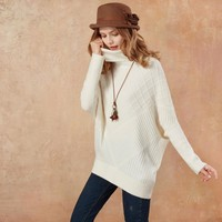 Collar Loose Batwing Sleeve Casual Pullover Sweater