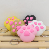 kawaii cat's paw led keychain with Meow meow sound Flashlight keychains cute keyrings the cat's toys3#