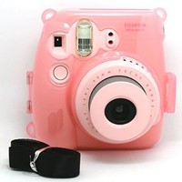 [Fujifilm Instax Mini 8 Case]-- CAIUL Transparent Crystal Comprehensive Protection Instax Mini 8 Camera Case Bag With PVC Material [Ever Ready Design ] ( Pink )