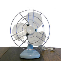 Vintage Desk Fan Small Mid Century Fan Baby Blue with Metal Cage and Off White Blades - Electric Table Top Fan Home or Office Decor - WORKS