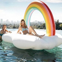 Rainbow Inflatable Pool Floats PVC Durable Inflatable Water Sports Rafting for Adults 210*140*135 cm