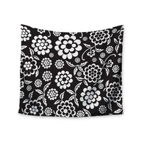 """Nicole Ketchum """"Cherry Floral Black"""" Wall Tapestry"""