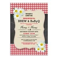 Brew and BABYQ Baby Shower Red Chalk Daisy Invite