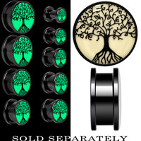 Tree of Life Glow in the Dark Screw Fit Plug in Anodized Black Titanium | Body Candy Body Jewelry