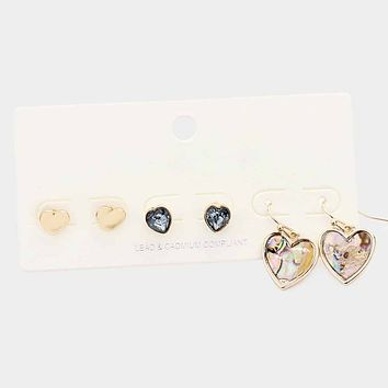 3pairs - Metal Stone Abalone Heart Earrings