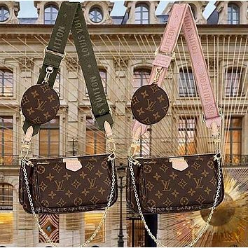 LV Louis Vuitton women's three-piece shoulder bag messenger bag mahjong bag cosmetic bag key case Belt