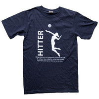 Volleyball Hitter Position T-Shirt - Navy - Lucky Dog Volleyball