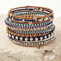 Faux Gemstone Bangle Set