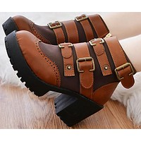 new brand autumn winter women leather ankle boots high heels platform shoes buckle free shipping