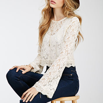 Bell-Sleeved Lace Crop Top
