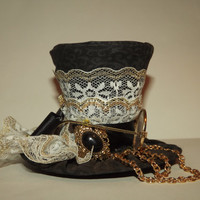 Handmade Tiny Top Hat- Steampunk mini top hat with eyeglasses- One of a kind tiny hat- FREE SHIPPING