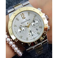 Pandora 2018 men and women couple models three-eye steel belt watch F-Fushida-8899 Silver + gold watchband + gold case + silver dial
