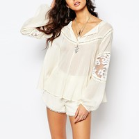 Stevie May Cream Organza Mix Billowing Sleeve Top in Cream
