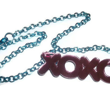 Pink xoxo Necklace, Hugs and Kisses Pink Laser Cut Pendant Turquoise Chain