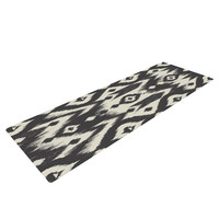 "Amanda Lane ""Black Cream Tribal Ikat"" Tan Dark Yoga Mat"