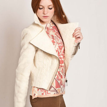 Cropped jacket, Motorcycle jacket felted, White blazer, biker style, chic asymmetric lapel closure by Texturable