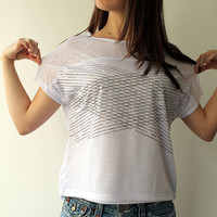 Designer Tshirt, White  Women T shirt ,Casual top, loose fitting printed Tee