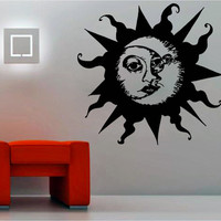 Vinyl Wall Sticker Decal Decor Art  Sun Moon Crescent Ethical Symbol for Bedroom or Living Room! DIY or Mural with Free Shipping!