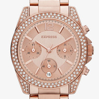 GLENDALE PAVE EMBELLISHED CHRONOGRAPH WATCH from EXPRESS