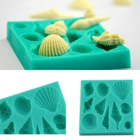 Silicone 3D Seashell Beach Shells Cake Molds Chocolate Mould Decoration-#isps = 5658089473