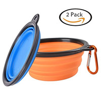 Pet Travel Collapsible Dog Bowl - L-Tiger (2 Pcs) Pet Food and Water Feeding Bowls For Beach Camping Running & Hiking Portable Foldable Cup Dish with Carabiner,Safe Eco-Friendly Silicone BPA Free