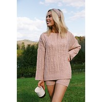 South Of France Cable Knit Shorts, Mauve