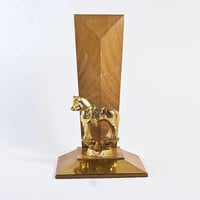 Vintage Horse Show Trophy, Solid Metal and Wood Award Equestrian Figurine, 1960s Mid Century Design