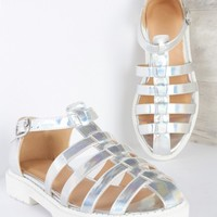 Too Hot To Trot Gladiator Shoe Metaillic Silver | LASULA