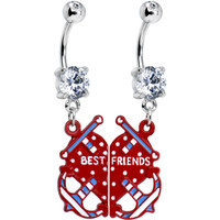 Clear Gem Heart Anchor Best Friends Dangle Belly Ring Set   Body Candy Body Jewelry