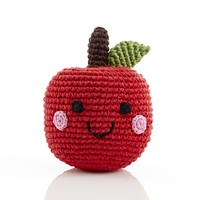 Smiling Apple Knitted Baby Rattle - Fair Trade