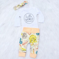 Peach Floral Newborn Outfit/ Floral Baby Leggings/ Baby Girl Coming Home Outfit/ Going Home Outfit