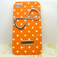 Infinity Directioner One Direction Love Charm White Dot Orange Color Hard Case Cover Apple iPhone 4  Case iPhone 4s Case Personalized