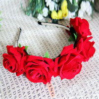 Rose Floral Flower Crown Headband