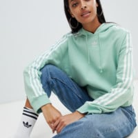 Adidas Originals Three Stripe Cropped Hoodie In Green